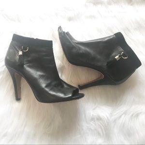 Vince Camuto Black Leather Peep Toe Ankle Booties